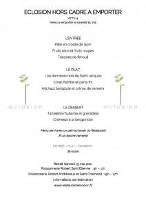Menu Restaurant Eclosion 15 mai